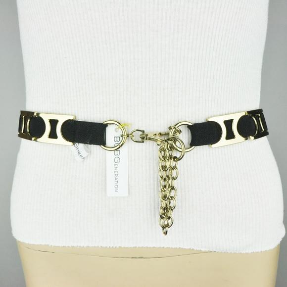 """BCBGeneration Ladies size Large Belt Black White Skinny 1/"""" Faux Leather $38 New"""